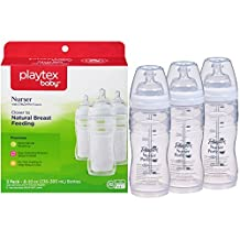 Playtex Baby Nurser Baby Bottle with Drop-Ins Disposable Liners, Closer to Breastfeeding, 8 Ounce - 3 Pack