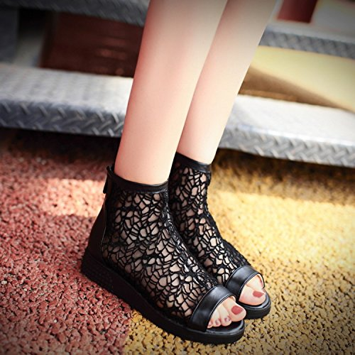 Sandals Shoes Korean Sandals Summer Female Girl Black KPHY Mouth Casual Shoes Ladies Fish Sweet Jacobs qxgX4AOAw