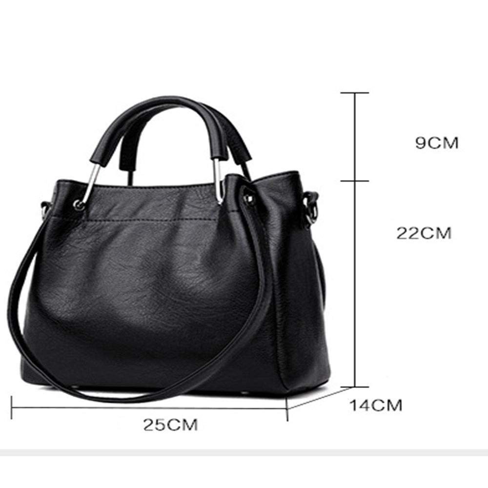 DMMW-Bag Damenhandtasche Damen Casual Handtasche Schultertasche Slung Retro Eimer Tasche Geschenk für Frauen (Color : Red) Black