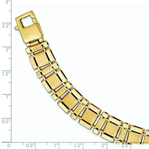 Or 14carats-Bracelet-Maillons poli et brossé-23cm
