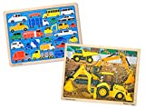 Melissa & Doug Vehicles Wooden Jigsaw Puzzles Set - Beep Beep Cars and Construction (24 pcs each)