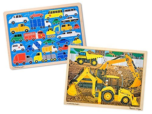 Melissa & Doug Vehicles Wooden Jigsaw Puzzles Set - Beep Beep Cars and Construction (24 pcs each) -