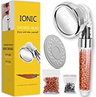 Ionic Shower Head Handheld High Pressure Water Saving 3 Modes Adjustable Filter Showerhead for Hard Water Low Water...