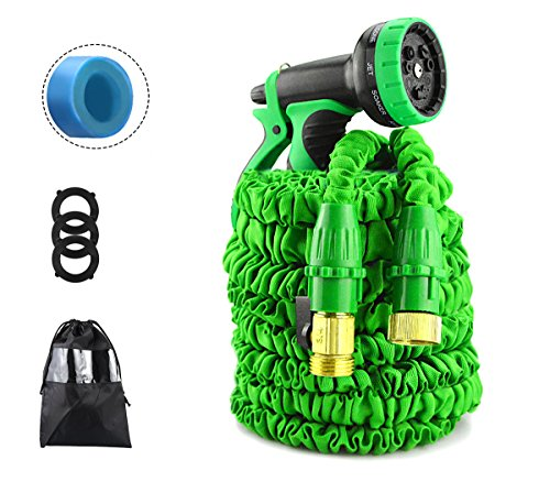 IBeaty Lightweight 50ft/100ft/150ft Expandable Garden Hose Magic Flexible Water Hose with 3/4Inch Solid Brass Ends 8 Position Spray Nozzle (Updated 50FT, Green)