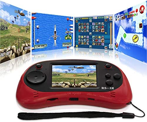 Kids Video Games System, RS-8X [Upgrade] 16 Bit HD Portable Game Console Built-in 42 Classical Games with 2.5 Inch LCD Rechargeable Handheld Video Console Support AV/TV, Best Gifts for Children (Red)