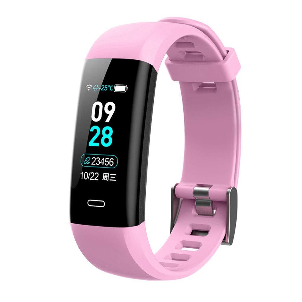 YangMi Sports Bracelet- Men and Women Smart Sports Bracelet Blood Pressure Blood Oxygen Heart Rate Sleep Sports Waterproof Bluetooth Bracelet (Color : Pink)