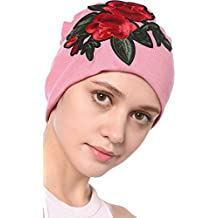 Ababalaya Women's Elegant Cashmere Floral Embroidered Nightcap Chemo Cancer Cap