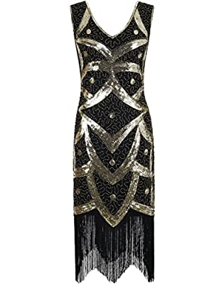 Kayamiya Women's 1920s Great Gatsby Sequined Beaded Inspired Fringed Flapper Dress