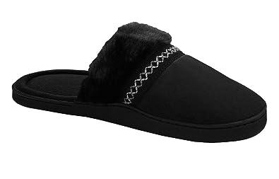 Womens Imani Clog Slipper, Black 8.5-9 Isotoner