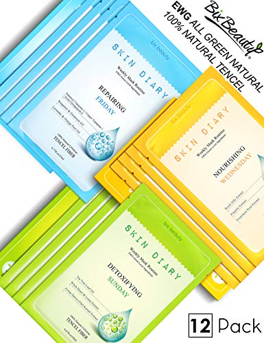 - Bix Beauty Triple Effect Essence Korean Face Mask Sheet Natural Collagen Boost Collection Set | Detoxify | Nourish | Repair | SKIN DIARY 12 Pack Total Skin Care Weekly Treatment | 1 Month Supply