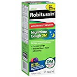 Robitussin Adult Maximum Strength Nighttime Cough DM Max (8 fl. oz. Bottle), Cough Suppressant & Antihistamine, Blue Raspberry Flavor