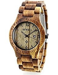 Bewell Natural zebrawood Wrist Wooden Watch for men and women Quartz display color brown