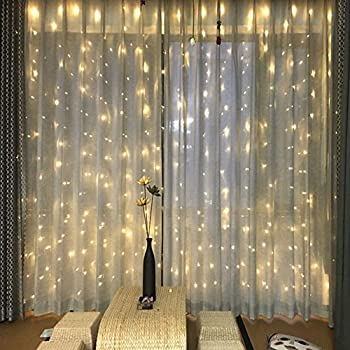 Partypeople Curtain Lights 98ft X 300 LED Fairy String For Christmas Wedding Festivals Party Decorations Warm White