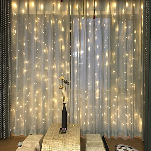 Partypeople Curtain Lights 9.8ft x 9.8ft 300 LED Fairy String Lights for Christmas/Wedding/Festivals/Party Decorations (Warm White) (Window Curtains Short)