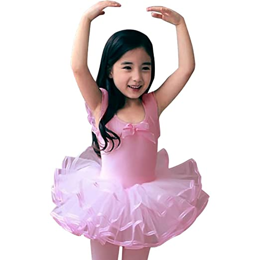 aa467c09268e Amazon.com  CM-Kid Girls Short Sleeve Ballet Dance Dress Ruffle Tutu ...