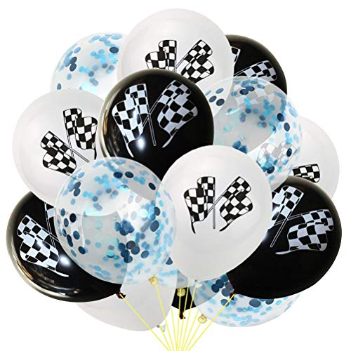 (Toyvian 15PCS Checkered Flags Confetti Balloons Celebration Latex Balloons for Race Car Party (White Black and)