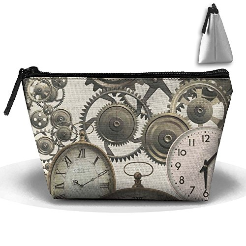 RobotDayUpUP Vintage Steampunk Clocks Womens Travel Cosmetic Bag Portable Toiletry Brush Storage High Capacity Pen Pencil Bags Accessories Sewing Kit Pouch Makeup Carry Case