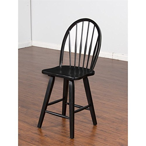 Sunny Designs Laguna Bowback Barstool with Wooden Seat, Black Finish by Sunny Designs