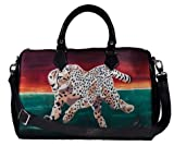 Vegan Leather Handbag with Removable Shoulder Strap - Support Wildlife Conservation, Read How ... (Cheetah - Twlight Run)