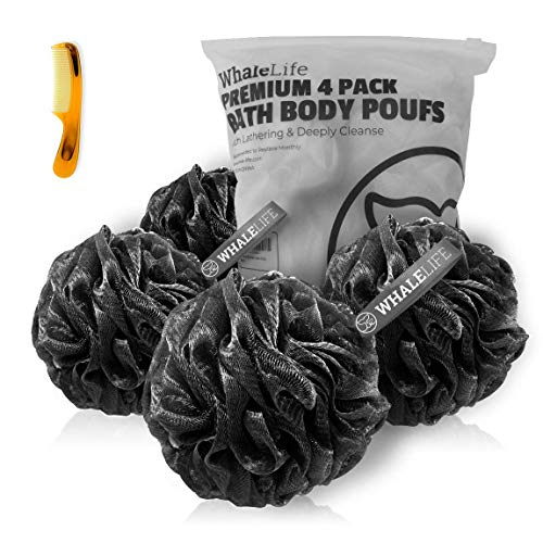 Shower Puff 4 Pack Black Bath Sponge Shower Loofahs Pouf Ball Nature Bamboo Charcoal Mesh Bulk Puffs Large, Shower Essential Skin Care by Whale Life