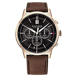 Tommy Hilfiger Multi-function Dark Brown Leather Men's Watch - 1791631