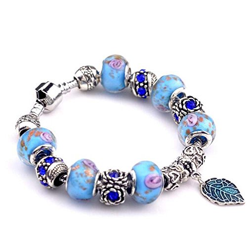 The Starry Night Sky Blue Leaf Pendant Crystal Accented Glass Beaded Silver Pandora Bracelet (Leapster Refrigerator Magnets compare prices)