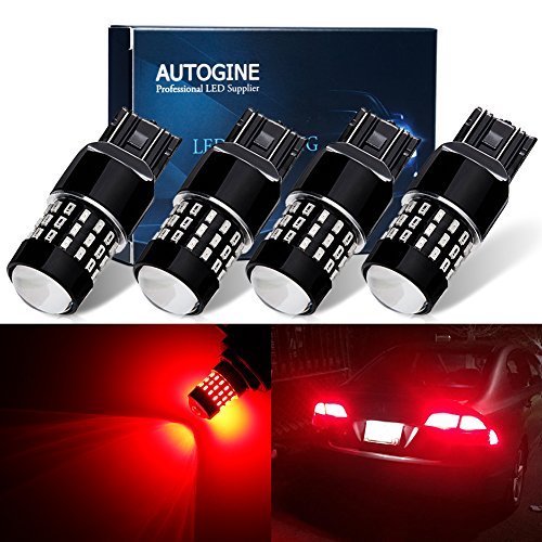 AUTOGINE 4 X Super Bright 9-30V 7440 7441 7443 7444 992 LED Bulbs 3014 54-EX Chipsets with Projector for Tail Lights Brake Lights Turn Signal Lights, Brilliant Red