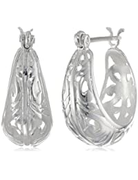 Sterling Silver Filigree Round Hoop Earrings