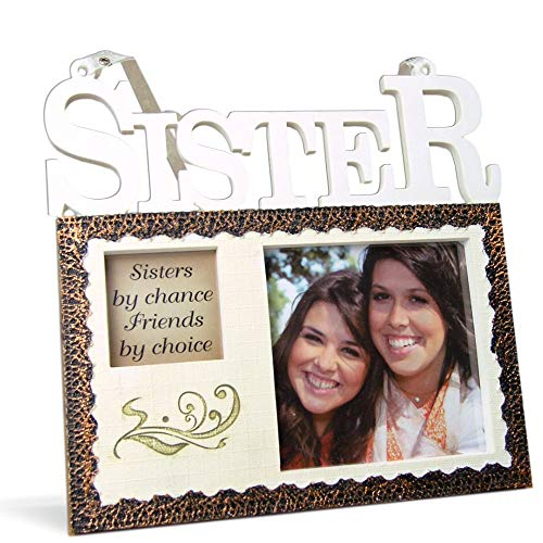 BANBERRY DESIGNS Sisters Hanging Picture Frame Plaque - Sisters by Chance, Friends by Choice - Photo Opening - Sister Gifts from Sister - 7 Inch