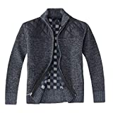 Gioberti Boy's Knitted Full Zip Cardigan Sweater with Soft Brushed Flannel Lining, Melange Blue, Size 12