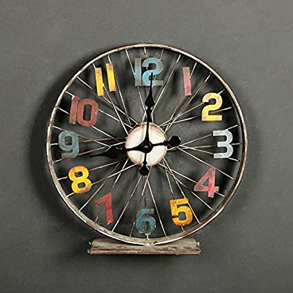Amazon.com: Wall Clocks Vintage bicycle wheel iron clock process decoration wall decoration wall clock, 40×10×40cm,making your home cosy: Home & Kitchen