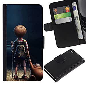 BearCase / Cuero de la tarjeta la carpeta del tirón Smartphone Slots Protección Holder /// Apple iPhone 4 / 4S /// Boy Child Cartoon Teddy Bear Friendship Art