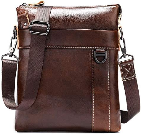 Color : Oil Coffee QXU-DIMDIM Mens Business Crossbody Bag Genuine Leather Cowhide Male One-Shoulder Small Bag