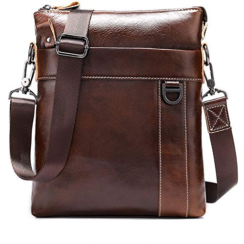 LCLiang Mens Business Crossbody Bag Genuine Leather Cowhide Male One-Shoulder Small Bag Color : Oil Coffee