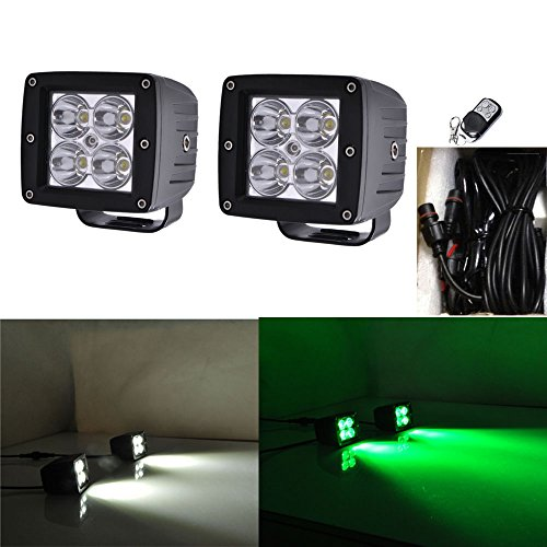 (Night Break Light 2pcs 24W White Green Color Changing Led Pod Remote Controller 9 Flashing Patterns for Offorad Jeep 4wd Truck 4x4 USV ATV White Green Led Strobe Lights Emergency free Wire Harness)
