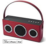 GGMM M4 Leather Wireless Digital Wi-Fi / Bluetooth Indoor and Outdoor Speaker Featuring Airplay , DLNA , Spotify Connect, Built-in Wi-Fi, Rechargeable battery with Leather handle (Red)