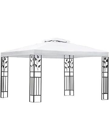 vidaXL Carpa de Jardín Acero y Tela Blanco y Negro 3x4 m Cenador de Patio