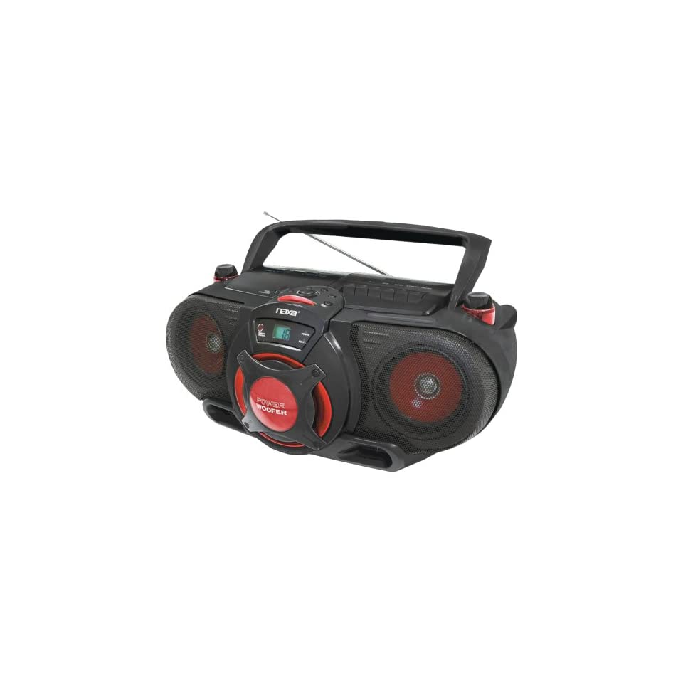 Naxa Portable /CD AM/FM Stereo Radio Cassette Player/Recorder with Subwoofer and USB Input  Players & Accessories