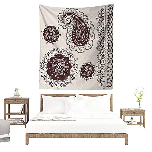 Paisley Brown Needlepoint (WilliamsDecor Polyester Tapestry Henna Intricate Hand Drawn Tattoo Paisley Doodle Eastern Culture Inspired Design 40W x 60L INCH Suitable for Bedroom Living Room Dormitory)