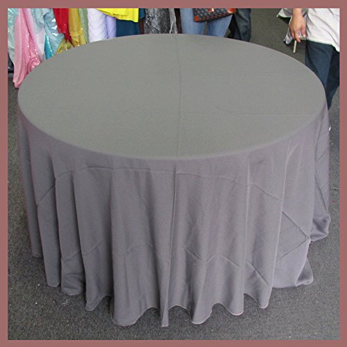 Newstar Tablecloth Round 132 inches Poly Poplin/Polypoplin/Polyester/Gabardine/Linens, Charcoal Grey, for Wedding and Party Supplies, Tablecloth Cover ... ()