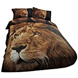 Dovet Cover Set Plus 2 Pillow Shams 3D Lions Photographic Printing Polyester Fabric Bedding Set 3PC Bedding Set Queen (B07KNZL3D7)