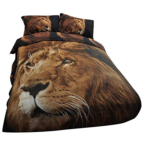 (Dovet Cover Set Plus 2 Pillow Shams 3D Lions Photographic Printing Polyester Fabric Bedding Set 3PC Bedding Set Queen (B07KNZL3D7) )