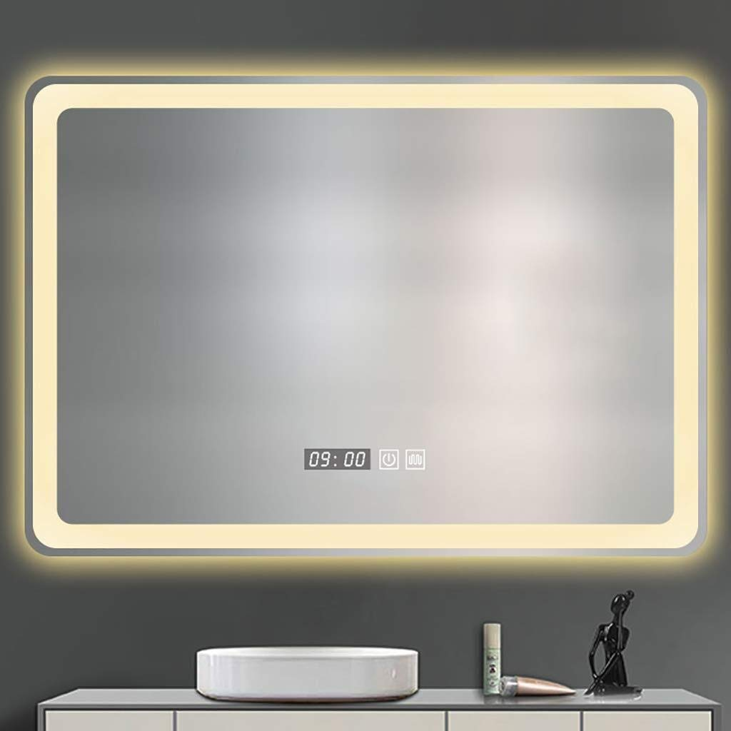 Beauty mirror LED Bathroom Mirror,Wall Anti Fogging Illuminated Bathroom Mirror With Touch Switch,5MM Explosion-Proof Mirror White Warm Light Rectangle Makeup Mirror 23.6 Inch X 31.5 Inch Dressing mir by Makeup Mirrors