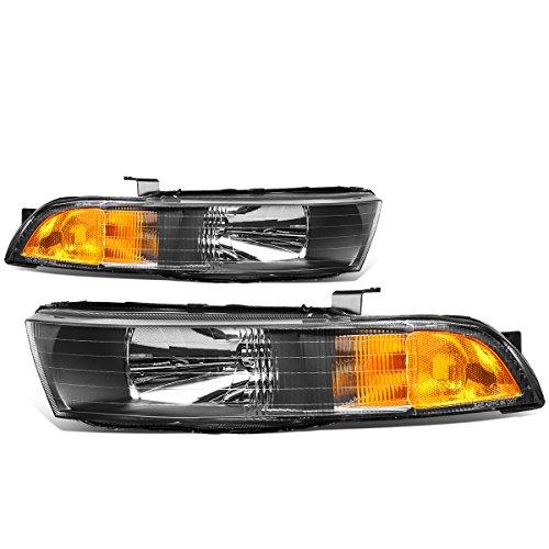 Mitsubishi Galant Headlight Covers (Mitsubishi Galant 8th Gen Pair of Black Housing Amber Corner Headlights Lamp)