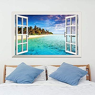 iwallsticker Beach Seascape 3D Window Wall Sticker Decals Removable Faux Windows Wall Decal Landscape Home Decor for Living Room Bedroom