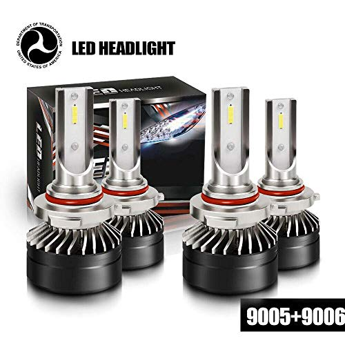 DOT Approval 9005 H10 HB3 High 9006 HB4 Low Beam LED Headlight Bulbs CSP Conversion Kit 6000LM 6000K White Fit Hatchback Acura Truck Chevy Dodge GMC Honda Motorcycle ATV SUV (4 Pack, 2 Sets)