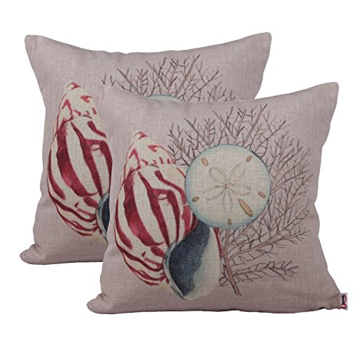Queenie 40PC Seashell Decorative Throw Pillow Cover 40x40 Cool Seashell Pillows Decorative
