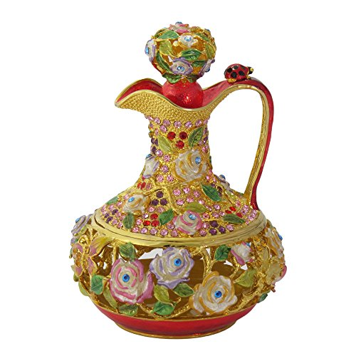 (Krustallos Gold Floral Pitcher Kettle Enameled Antique Figurine Collectible Gift Trinket Jewelry Box)
