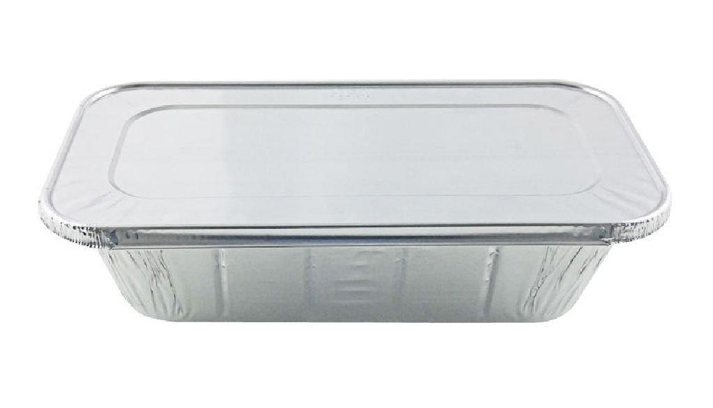1/3 ThirdSize Deep Aluminum Foil Steam / 5 lb. Loaf Pan w/Foil Lids