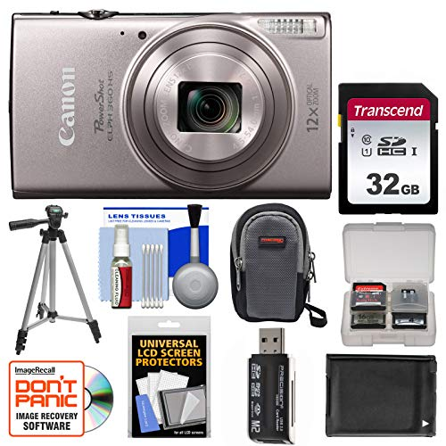 Canon PowerShot Elph 360 HS Wi-Fi Digital Camera (Silver) with 32GB Card + Case + Battery + Tripod + Kit